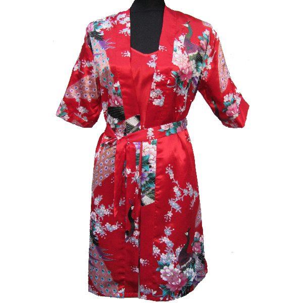 kimono court rouge motif japonais. Black Bedroom Furniture Sets. Home Design Ideas
