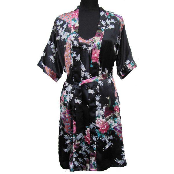 kimono japonais court avec nuisette motif noir. Black Bedroom Furniture Sets. Home Design Ideas