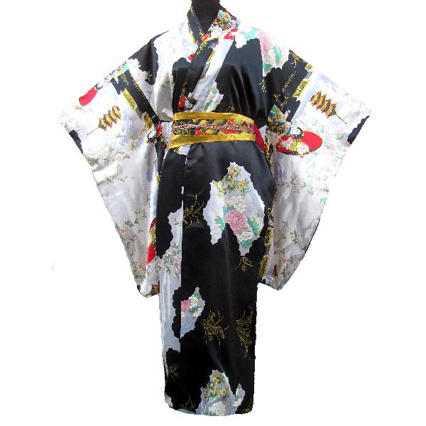 kimono japonais tokyo femme noir motif. Black Bedroom Furniture Sets. Home Design Ideas