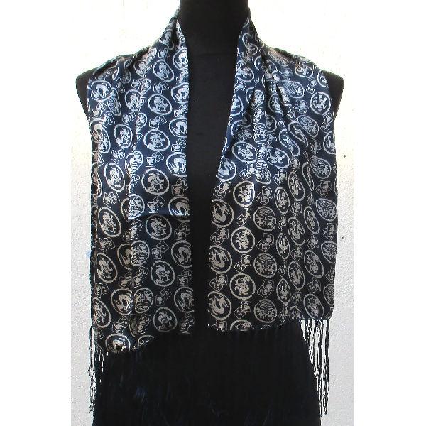 Echarpe Foulard Soie Bleu Unique Paris 95dfa76ac4a