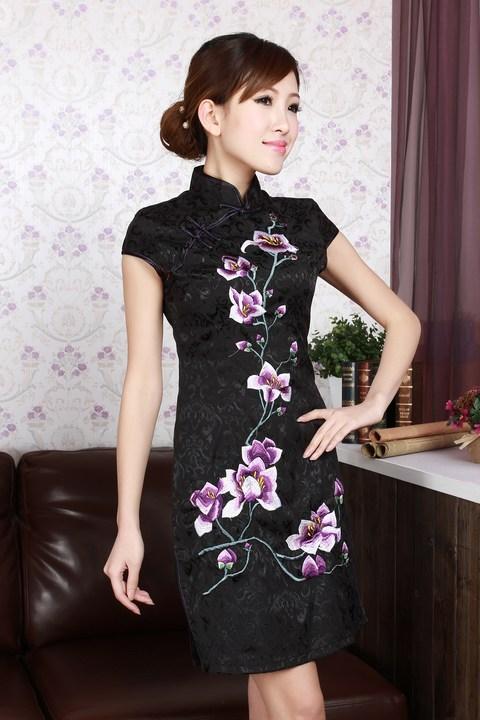 Robe Asiatique Courte Coton Noire Fleur Motif