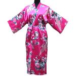 Kimono Asiatique Fushia Oiseau Porte Bonheur