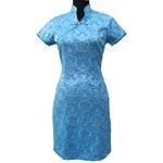 Robe Asiatique Bleu Hotesse Paris