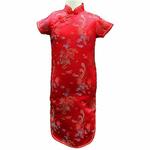 Robe Asiatique Soie Rouge Pour Enfant Dragon Traditionelle