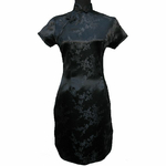 Robe En Soie Noir Asie Hotesse