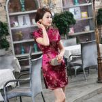 Robe Asiatique Rouge Bordeaux Dragon Bonheur