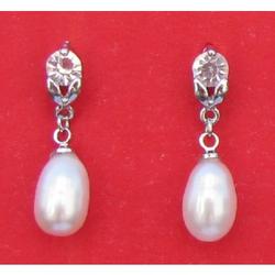 Boucles D orielle en Perle de Culture Blanche