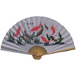 Eventail Motif Poisson Asiatique
