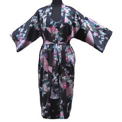 Kimono Japon Longue Noir Avec Nuisette