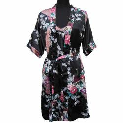 Kimono Japonais Court Avec Nuisette Motif Noir