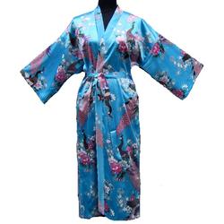 Kimono Longue Asiatique Bleu Motif
