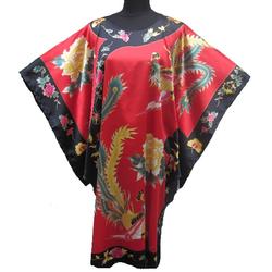 Kimono Robe Court Asiatique Oiseau Porte Bonheur