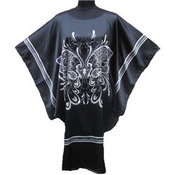 Kimono Robe Grand Taille Court Noir Pour Ete