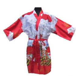 Kimono Rouge Court Motif Femme Japon
