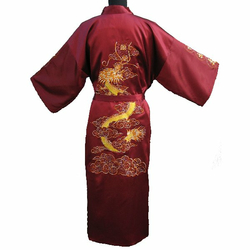 Kimono Satin Dragon Rouge Bordeaux