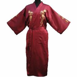 Kimono en Soie Rouge Bordeaux