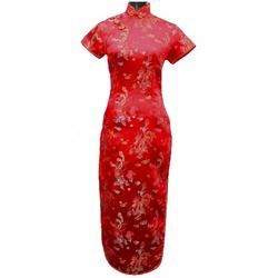 Robe Asiatique Traditionnelle Longue Rouge Motifs Dragon