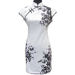 Tunique Robe Courte Noire Fleur