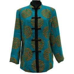 Veste Asiatique Coton Bleu