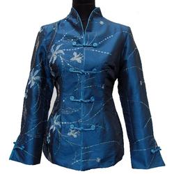 Veste Asiatique Pour Femme Soie Bleue Motif