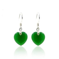 Boucle Oreille Jade Coeur Vert
