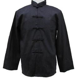 Chemise Asiatique Lin Noir