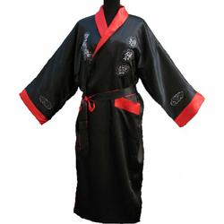 Kimono Satin Noir Réversible