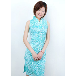 Robe Asiatique Courte Dentelle Bleu