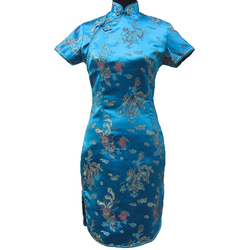 Robe Asiatique Courte Fendu Bleue Motif Bonheur