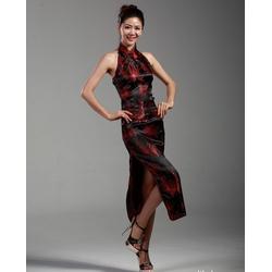 Robe Asiatique Longue Fendue Noir Fleur