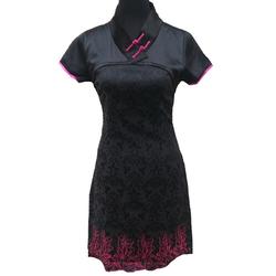 Robe Asiatique Noir Hotesse Manifique
