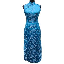 Robe Asiatique Qipao Bleue