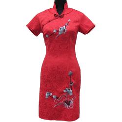 Robe Asiatique Rouge Bonheur Avec Petite Manche