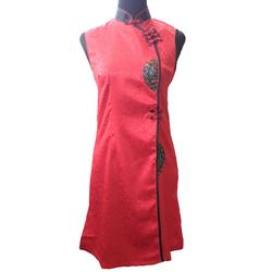 Robe Asiatique Longue Rouge Bonheur
