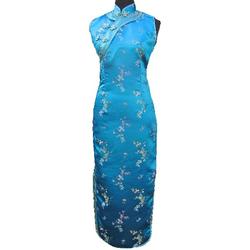 Robe Longue Asiatique Sans Manche Bleu