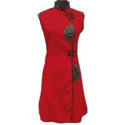 Robe de Soirée Asiatique Courte en Coton Rouge