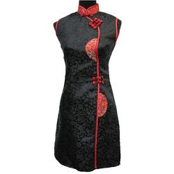 Robe de Soirée Asiatique en Soie Noire Sexy Col Mao