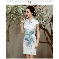 Robe en Coton Courte Blanche Motif Asiatique