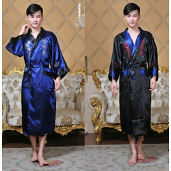 Kimono Double Face Bleu Boutique Asiatique