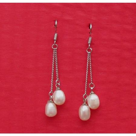 Boucle Orielle en Perle Eau Douce Blanc