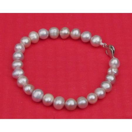 Bracelet Perles de Culture Gris