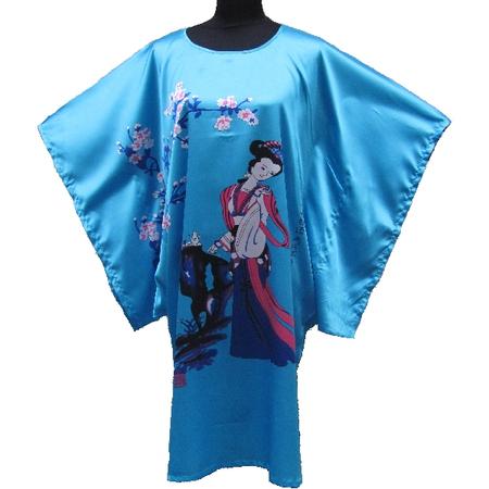 Kimono Asiatique Robe Courte Bleu Fleur