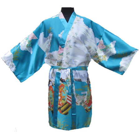 Kimono Bleu Court Motif Manifique