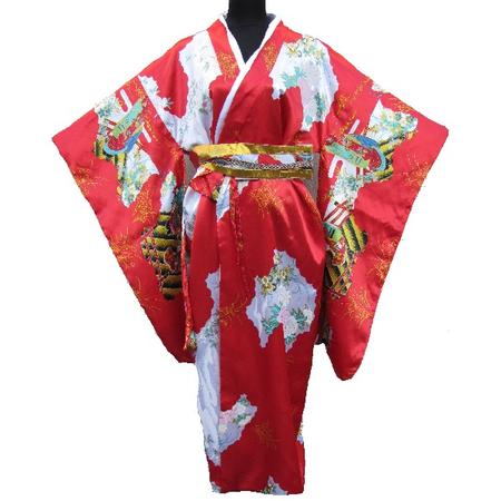 Kimono Japanois Geisha Rouge Manche Longue