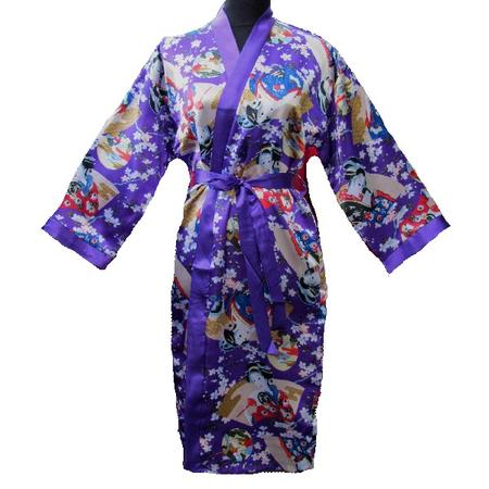 Kimono Japonais Violet Avec Nuisette Ensemble Asiatique