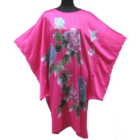 Kimono Robe Court Asiatique Fushia