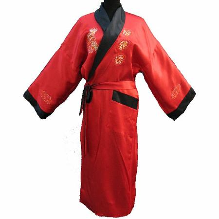 Kimono Soie Reversible Double Face Rouge Noir