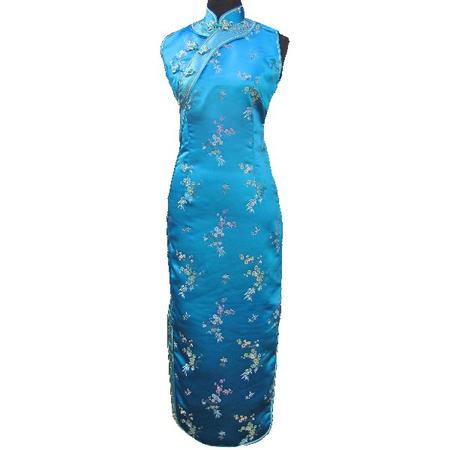 Robe Asiatique Bleu Fendue