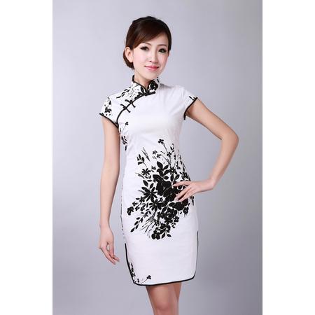Robe Asiatique Courte Blanche Motif Noire Fleur