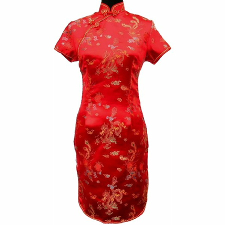 Robe Asiatique Courte Soie Dragon Phenix Rouge Traditionelle